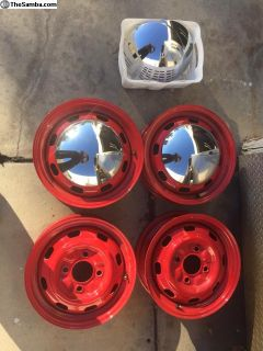 VW red powder coated 4 lug wheels