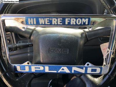 New Hi we re from Upland license plate frames