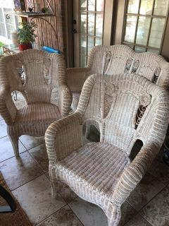 3 Pc Vintage Wicker Peacock Settee & Chairs