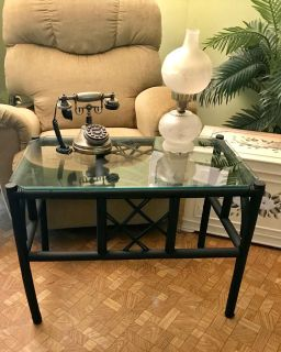 Unusual Black Bamboo Coffee Table. Beveled Glass Top. 29 wide by 22 tall by 18