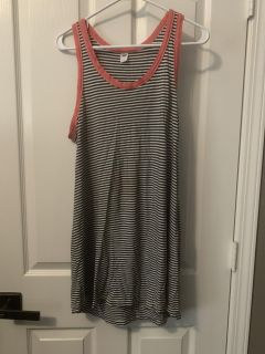 Old Navy Black/White Striped Dress with Coral Trim