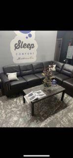 Espresso Leather Sectional Sofa