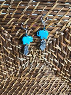 Turquoise colored Stone, Green Glass and Stainless Steel Earrings