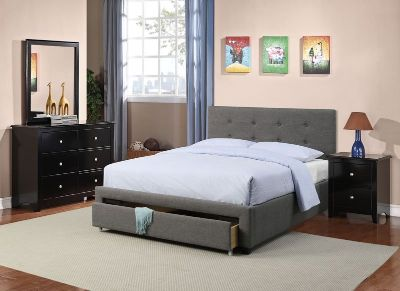 GREY TUFTED QUEEN BED FRAME FREE DELIVERY