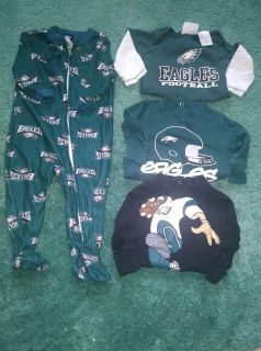 4 Piece Philadelphia Eagles Clothing Baby Lot Size 6 - 9 Months Sleeper 2 T shirt Onesies