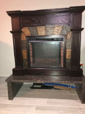 Electric Fireplace with custom marble base/bench