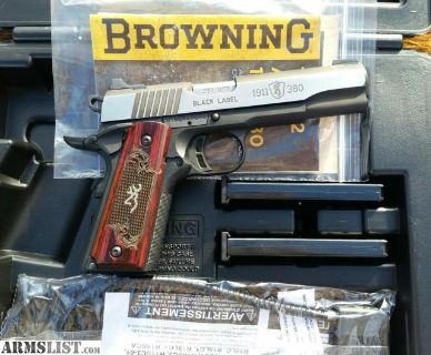 """For Sale: NEW - BROWNING BLACK LABEL MEDALLION PRO 1911-380 .380ACP FS 4.25"""" WOOD"""