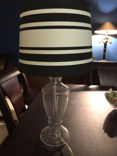 Contemporary glass based black and white stripe shade.Slight crack in the base. Not noticeable at all!
