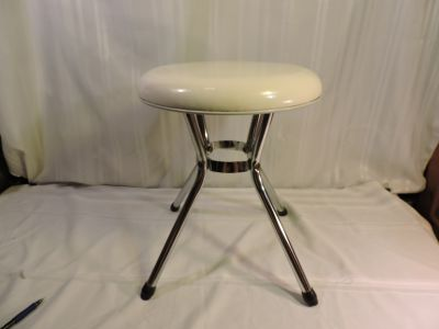 Mid Century Modern Vintage 50's 60's Costco metal stool chair White leather padded seat CHROME PERFECT