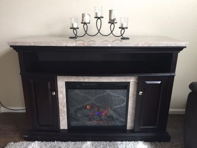 Beautiful Wood and Marble Media Fireplace!