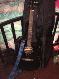 Black Fender Acoustic Guitar