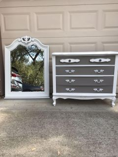 Up cycled French Provincial 3 drawer dresser and Mirror.