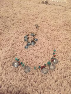 Beautiful blue and brown earrings and necklace set $8