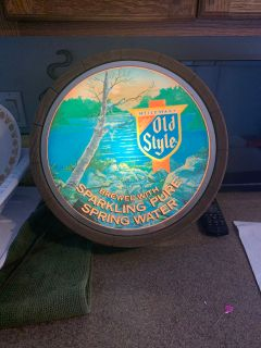 Vintage old style beer lighted sign 14 diameter