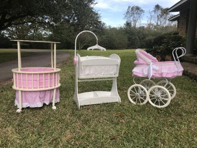 Doll lot-4 items- round bed, rocking cradle, stroller and high chair
