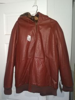 X-lg Men's Reversible Leather/Fur Hooded Jacket