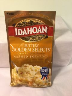 Idahoan Buttery golden select mashed potatoes, expiration September 2000