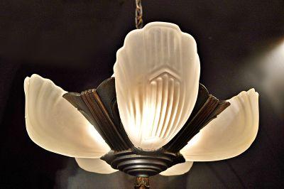 Georgous Art Deco 5 Light Slip Shade Chandelier