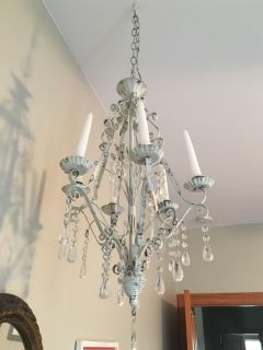 2 matching antique/white washed chandeliers