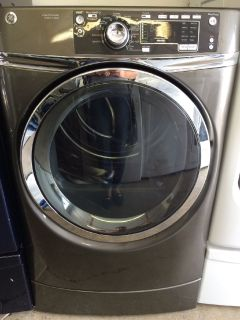 GE Electric Dryer w/Steam in Metallic Silver