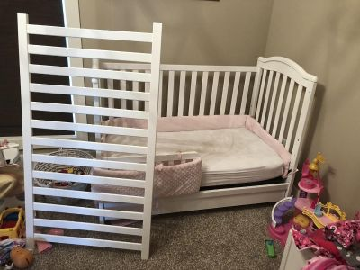 White convertible crib with mattress. Bought new, used for 2.5 years.