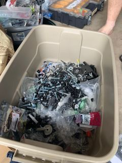 Misc hardware. Nuts, bolts, screws, washers and MORE!!! No telling what you ll find. $3 takes all!!!