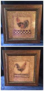 2 Matching Framed Roosters
