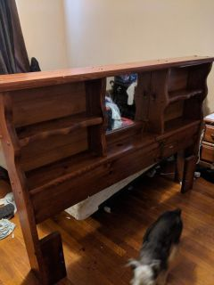 Full size headboard and metal bed frame