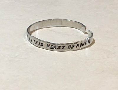 Inspirational I keep close watch on this heart of mine Cuff Bracelet