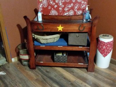 Solid wood custom made changing table