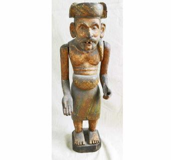 Sculpture Asian Antique Male Folk Art Wood