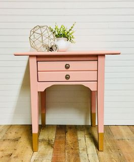 Blush Pink Side Table with Gold Dipped Legs