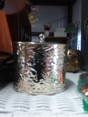Candle holder metal with lid and candle