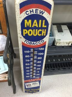 ANTIQUE MAIL POUCH TOBACCO THERMOMETER