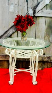 Antique Whitewashed Table with Oval Glass Top