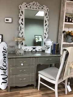 Desk/Vanity with matching chair and mirror