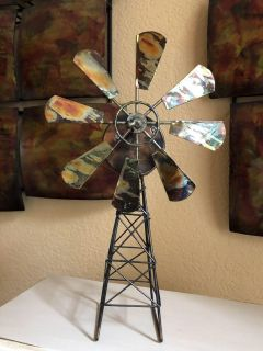 Weathered Copper-Look Musical Windmill with Sankyo Musical Movement