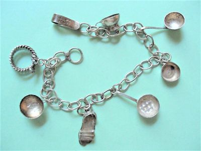 Vintage Mexican Sterling Silver Hand Made Charm Bracelet