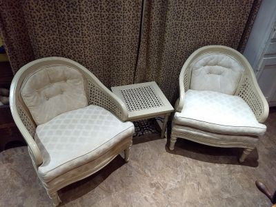Antique Chairs with Matching Side Table