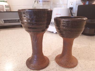 Funky pottery goblets