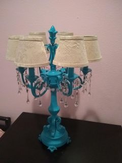 Antique Lamp with Hanging Crystals
