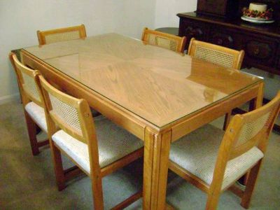 Wood dining table six chairs  counter stool