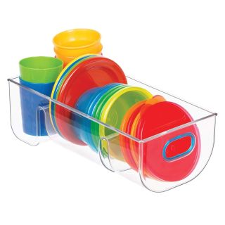 Divided Storage Organizer with 4 Sections For Baby/Toddler/Kids Mealtime Sets, Plates, Bowls, Cups Clear/Teal Blue