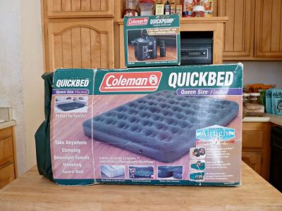 Coleman Flocked Queen Size Inflatable QUICKBED and Coleman QUICKPUMP