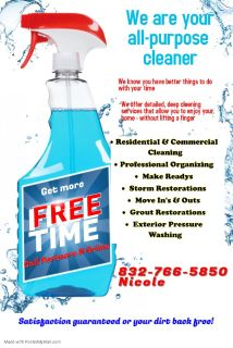 Residential cleaning/Organizing/Make Readies & more