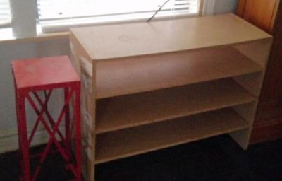 2 Adjustable wood shelves and red contemporary small shelf