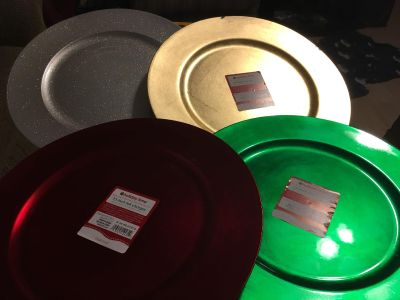 3 New Chargers Platters & 1 Barely Used Charger Platter Swap Only