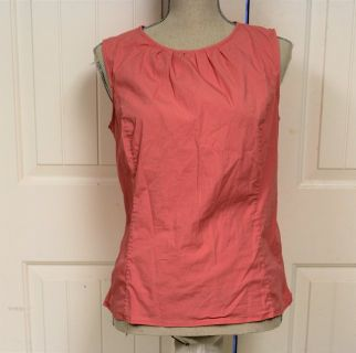 Talbots sz 14 Coral Orange Pink Fitted Women's Blouse Knit Top Shell Sleeveless