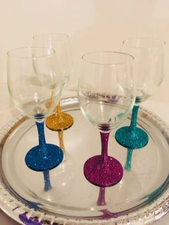 Set Of Four Custom Made Personalized Wine Glasses