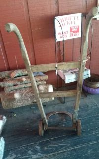 Antique Wood Cart w Cast Iron Wheels